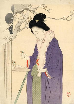 Mizuno Toshikata: Woman Visiting a Temple in the New Year - Japanese Art Open Database