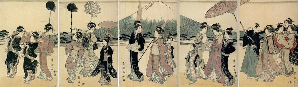 Utagawa Toyokuni I: Festive procession of a noble family and entourage at Mt Fuji - Japanese Art Open Database