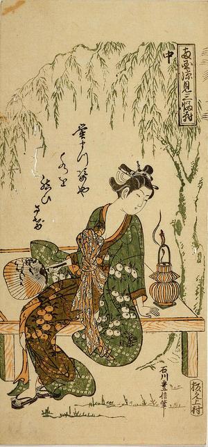 Ishikawa Toyonobu: Enjoing the Cooling at Ryogoku — 両国涼見三幅対 中 - Japanese Art Open Database