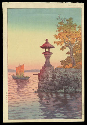 風光礼讃: Fishing Boat Returning at Sunset, Yabase — 矢橋の帰帆 - Japanese Art Open Database