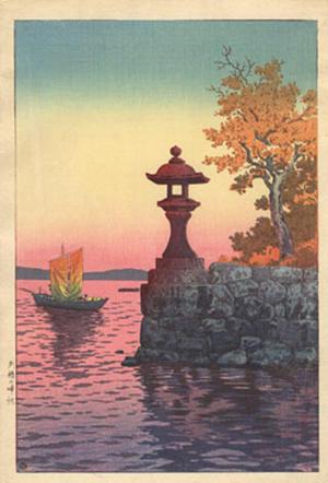 風光礼讃: Fishing Boat Returning at Sunset, Yabase — 矢橋の帰帆 - Japanese Art Open Database