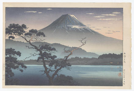 風光礼讃: Fuji from Lake Sai - Evening View from Lake Sai — Saiko no Yuushou - Japanese Art Open Database
