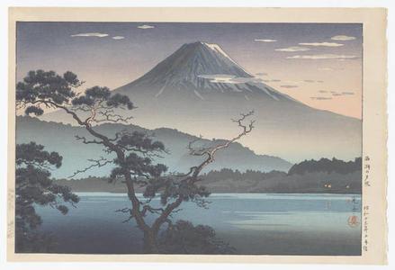 風光礼讃: Fuji from Lake Sai - Evening View from Lake Sai — Saiko no Yuushou - Japanese Art Open Database