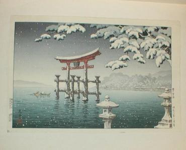 風光礼讃: Snow at Miyajima - Japanese Art Open Database
