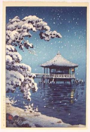 風光礼讃: Snow at Ukimido, Katata - Japanese Art Open Database