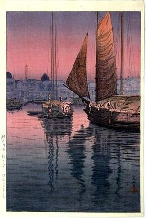 風光礼讃: Sunset at Tomonotsu, Inland Sea - Japanese Art Open Database