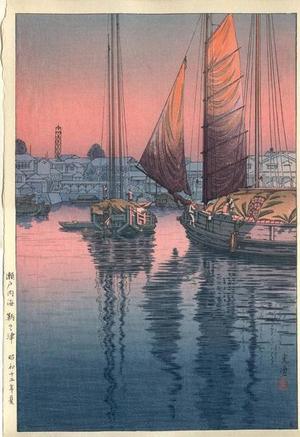 風光礼讃: Sunset at Tomonotsu, Inland Sea - Japanese Art Open Database