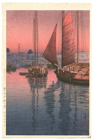 Tsuchiya Koitsu: Sunset at Tomonotsu, Inland Sea - Japanese Art Open Database
