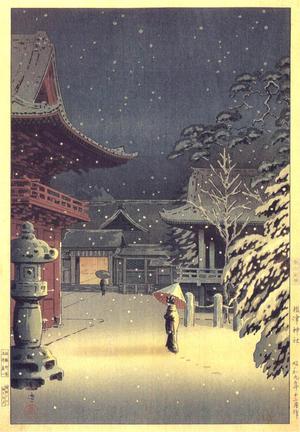 Tsuchiya Koitsu: Snow at Nezu Shrine (Woman in Snow) - Japanese Art Open Database