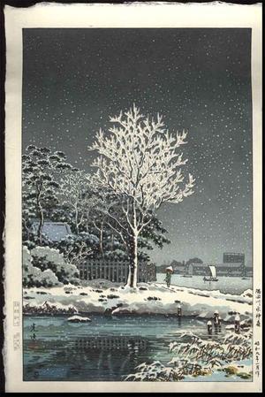 風光礼讃: Snow on Sumida River - Japanese Art Open Database