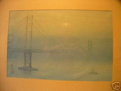 Tsuruoka Kakunen: Golden Gate Bridge in San Francisco - Japanese Art Open Database