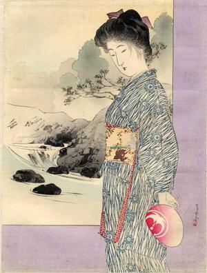 Tsutsui Toshimine: Bijin and river - Japanese Art Open Database