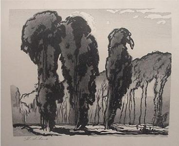 Urushibara Mokuchu: Trees, Montreuil - Japanese Art Open Database