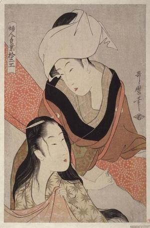 喜多川歌麿: Cloth-stretcher - Japanese Art Open Database