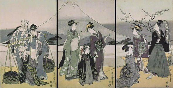 Kitagawa Utamaro: Fuji, Falcon and Egg Plant-the three lucky icons — 一富士二鷹三茄 - Japanese Art Open Database
