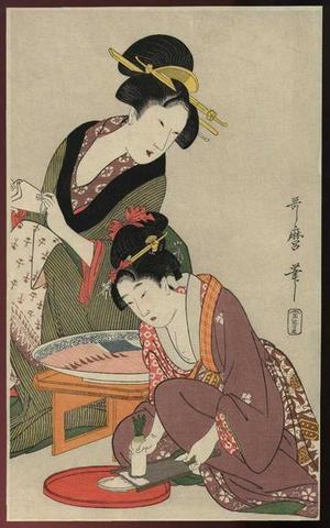 喜多川歌麿: Grating a Daikon Radish - Japanese Art Open Database