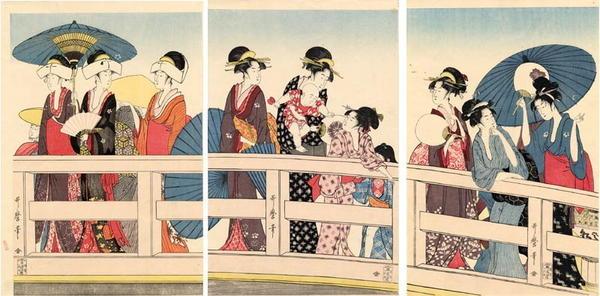 Kitagawa Utamaro: Unknown- Bijin on Bridge - Japanese Art Open Database