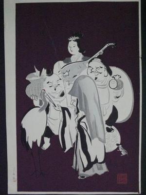 Wada Sanzo: The Seven Gods of Luck - Right — 七福神(右) - Japanese Art Open Database