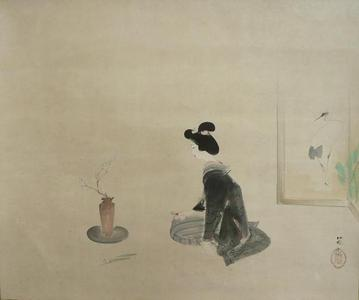 Watanabe Ikuharu: Ikebana - White Plum and Daffodils — 生花 白梅 水仙 - Japanese Art Open Database
