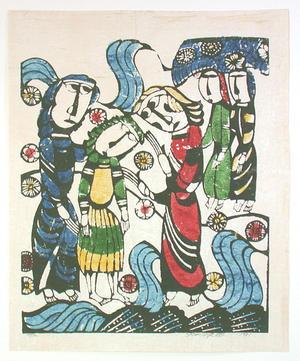 Watanabe Sadao: Andrew and Simon Follow Jesus - the Bible - Japanese Art Open Database