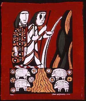 Watanabe Sadao: Moses smiting the Rock at Meribah- Exodus 17 3-6 - Japanese Art Open Database