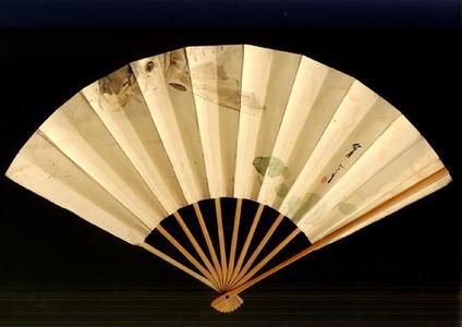 Watanabe Seitei: Hand Painted Fan- Carp and Lotus - Japanese Art Open Database