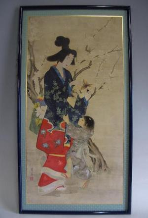 Watanabe Seitei: Mother and child- painting - Japanese Art Open Database