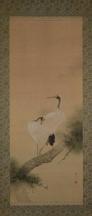Watanabe Seitei: Two Cranes on a Pine Tree - Japanese Art Open Database