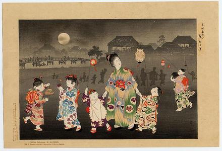 山本昇雲: Walking with the Lanterns - Japanese Art Open Database