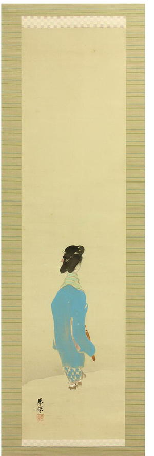 Yamamoto Shunkyo: Bijin on a Snowy Path — 雪道美人図 - Japanese Art Open Database