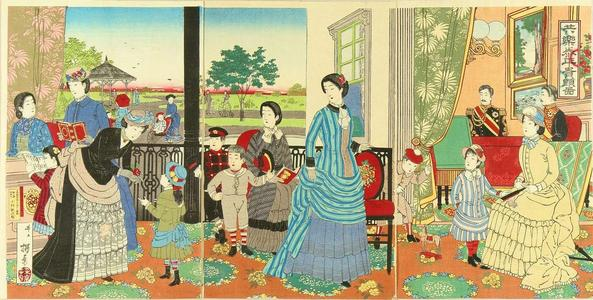 Inoue Yasuji: Emperor enjoying piece with family — 共楽泰平貴顕図 - Japanese Art Open Database