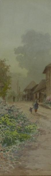 Yokouchi G: Village scene with mother and child - Japanese Art Open Database