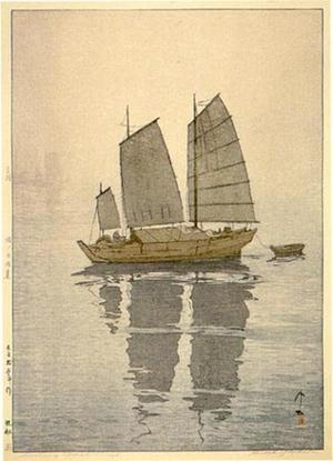 吉田博: Sailing Boats- Mist - Japanese Art Open Database
