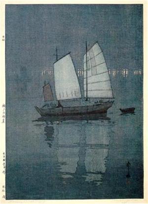 吉田博: Sailing Boats- Night - Japanese Art Open Database