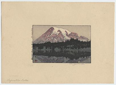 吉田博: Reflection Lake (Mt. Rainier) - Japanese Art Open Database