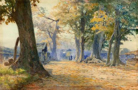 Yoshida Hiroshi: Autumn in a Japanese Village - Japanese Art Open Database