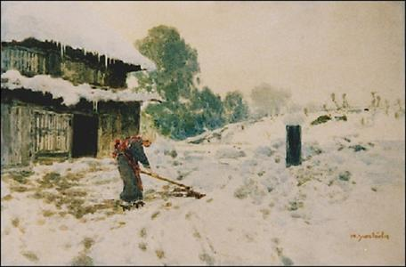 吉田博: Farmhouse snow scene - Japanese Art Open Database