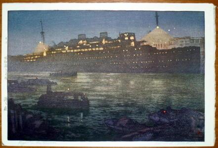 吉田博: Night in the Harbour — 港ノ夜 - Japanese Art Open Database