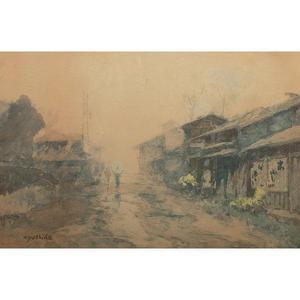 吉田博: Rainy street scene - Japanese Art Open Database