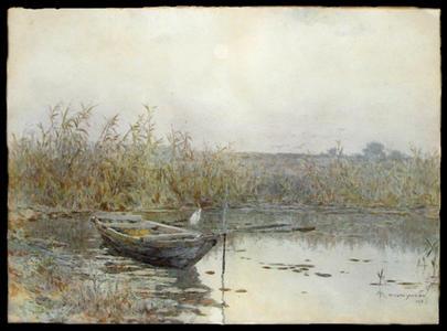 吉田博: Row Boat at Dawn - Japanese Art Open Database