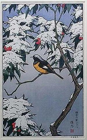 吉田遠志: BIRD AND SNOW COVERED LEAVES - Japanese Art Open Database