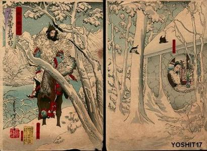 Tsukioka Yoshitoshi: Gentoku Visits Komei in Snow Storm - Japanese Art Open Database