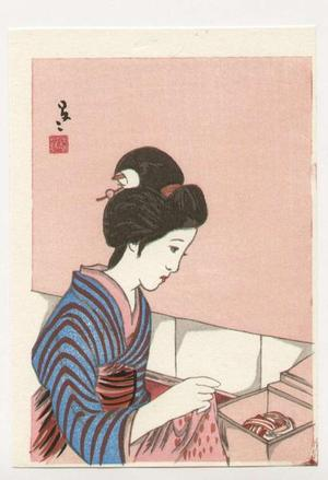 竹久夢二: Bijin and hat box - Japanese Art Open Database