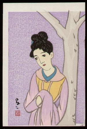 竹久夢二: Woman in Lavender - Japanese Art Open Database
