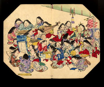柴田是眞: A comic pusuits of ladies- Fan print - Japanese Art Open Database