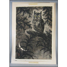 Aoyama Masaharu: Owl and Moon - Japanese Art Open Database