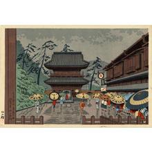 Fujishima Takeji: Senkaguji Temple in Rain — 泉岳寺雨 - Japanese Art Open Database