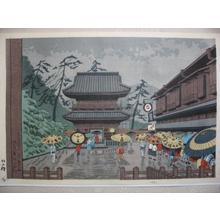 Fujishima Takeji: Senkaguji Temple in Rain — 泉岳寺雨 - Japanese Art Open Database