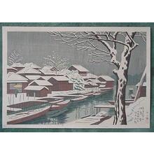 Fujishima Takeji: Snow at Tsukudashima — 佃島雪 - Japanese Art Open Database
