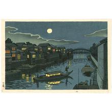Fujishima Takeji: Yanagibashi Getsumei (Moonlight at Yanagi Bridge) — 柳橋月明 - Japanese Art Open Database
